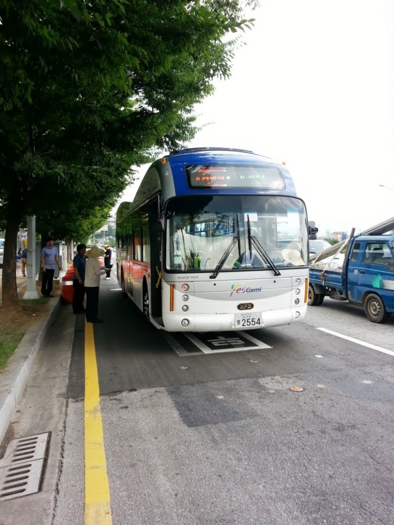 For the first time anywhere, electric buses provide public transportation services and are recharged right from the road. (image credit: KAIST)