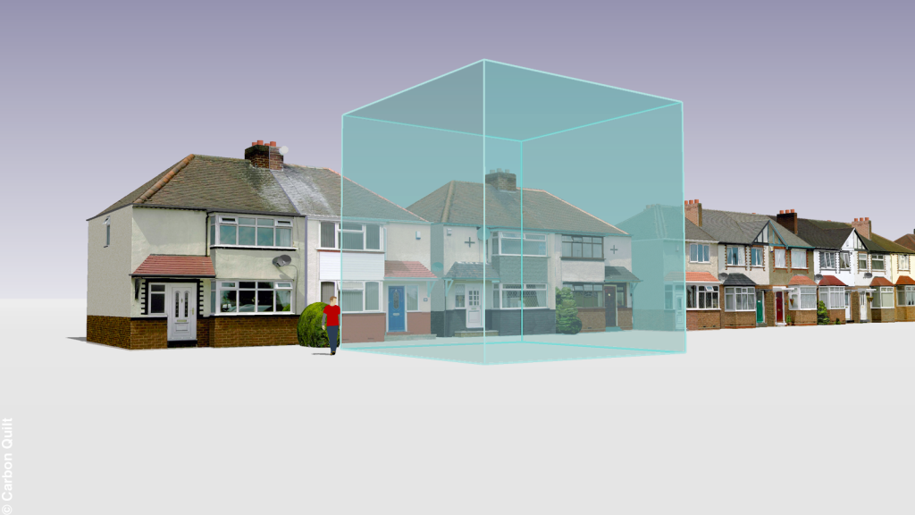 One tonne of carbon dioxide gas would fill a cube 8.13 metres high. This volume is illustrated in comparison with semi-detatched houses on a typical English suburban street. (image credit: Carbon Visuals at Flickr)