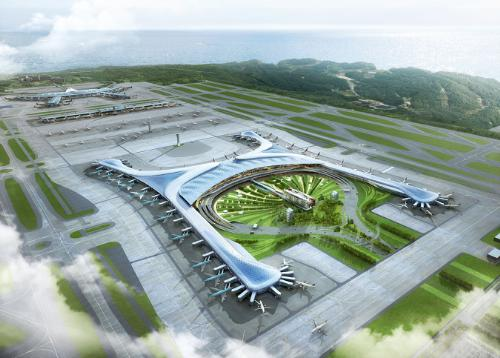 Aerial rendering of Incheon International Airport's new Terminal 2, which breaks ground September 26, 2013 in Korea. Rendering courtesy Gensler, collaborating design architect with the HMGY Consortium. (image credit: PRNewsFoto/Gensler)