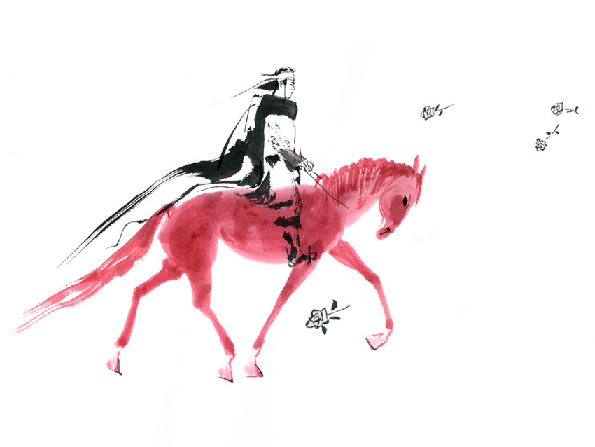 """Naver has been staging a special exhibition featuring """"Korean Masterpiece Cartoons"""" starting from the first day of October. The image shown here is the title image of """"Red Horse"""" by Baek Seong-min, which has been on display at the exhibition as a first selection. (image: NHN)"""