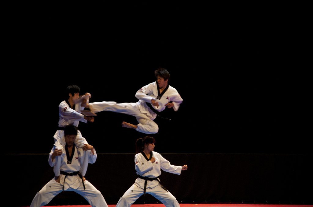 The demonstration team from Kukkiwon, or World Taewondo Headquarters, showed off new beautifully choreographed moves for 15 minutes, with standing ovations from the audience at the end. (image: runya at Flickr)