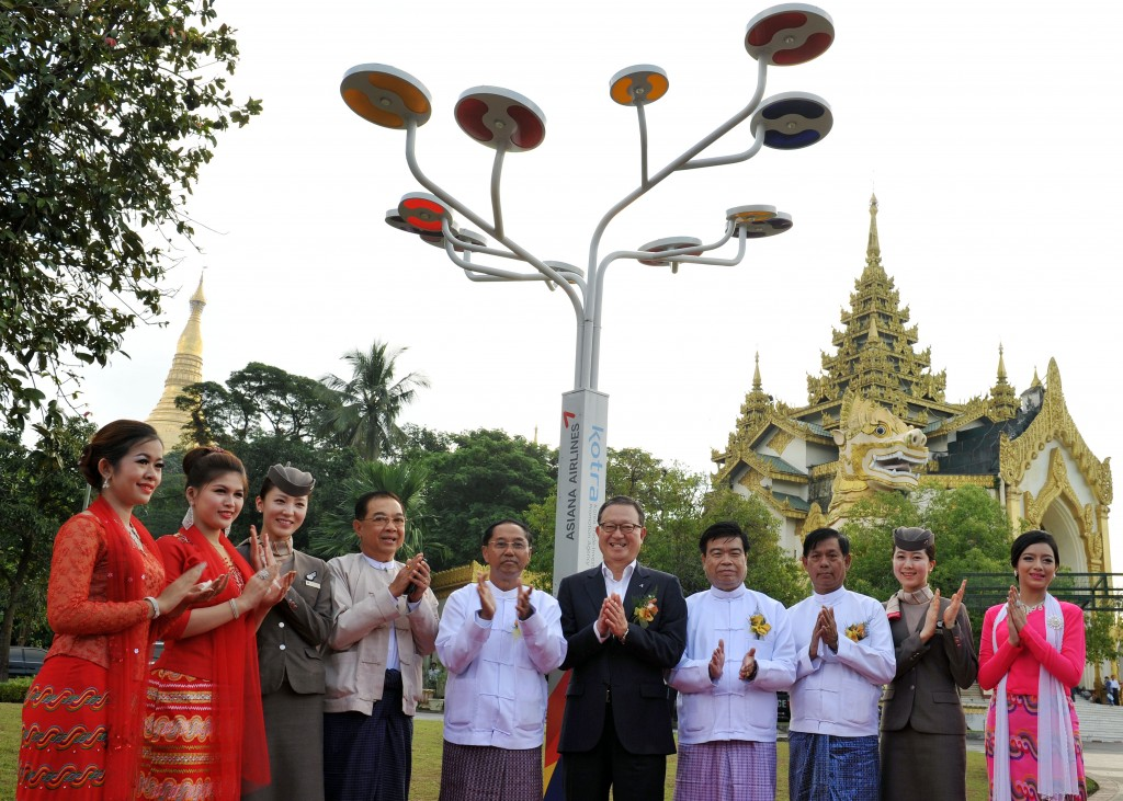 Asiana Airlines set out to install 30 solar-powered streetlights in Myanmar as part of its global corporate social responsibility activities. (image credit: Asiana Airlines)