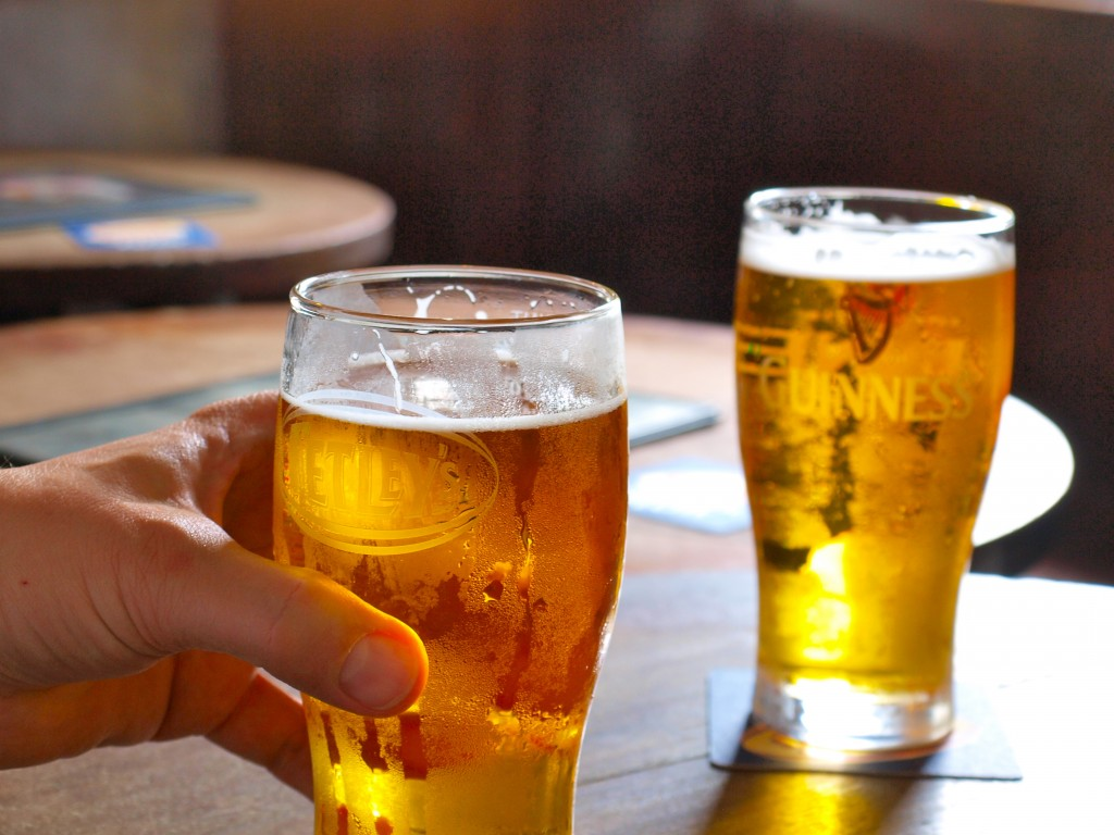 Driven by Big Alcohol advertising, branding, sponsorship and celebrity endorsements, America consumes an estimated 325 million gallons of beer on the day of the big game, so alcohol-related harm is inevitable.  (image: Pints of Beer by Simon Cocks@flickr)