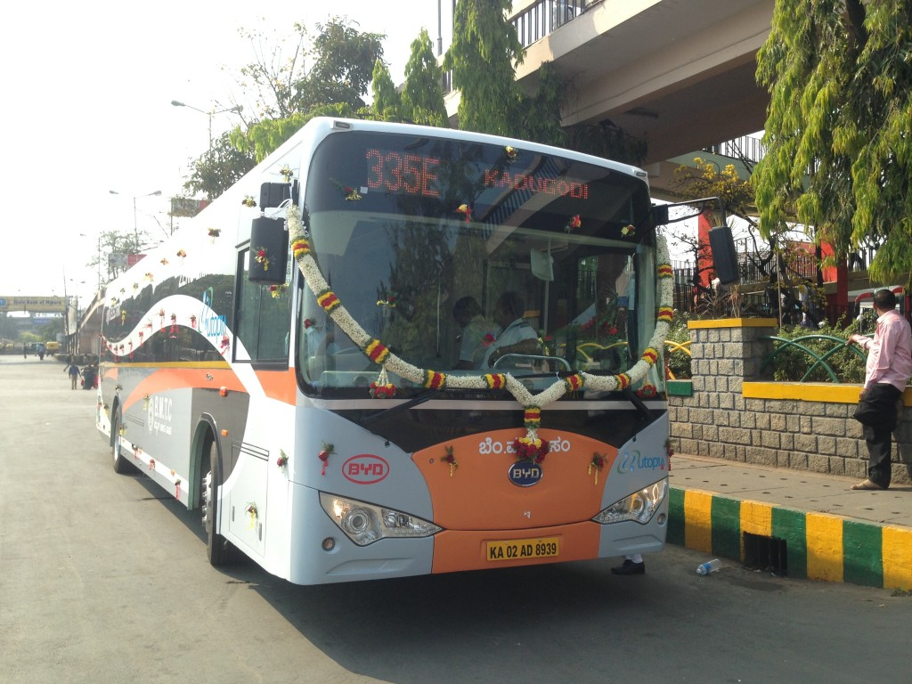 The first long-range, all-electric bus in India arrived from BYD Company Ltd. in Feb. 2014. The bus achieves up to 24 hours of service on a single night-time charge -- longer than any other electric bus in the market today. (image: BusinessWire)