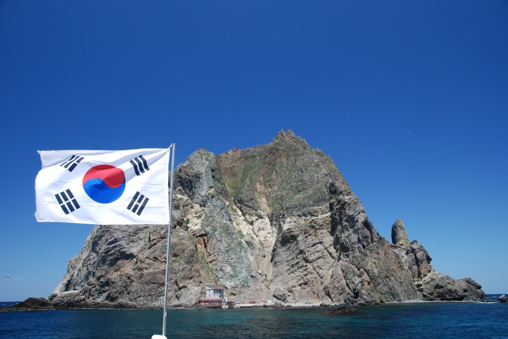 Korea's used car exporters began a campaign informing the world that Dokdo is within Korea's territorial boundary. (image: Ulleungdont/wikimedia)