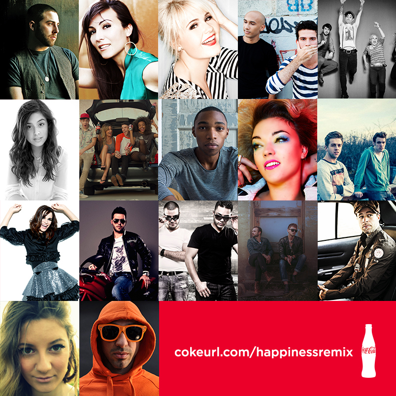 Happiness Remix created by Rock Mafia and featuring Music Dealers' Artists Available for Free Download. (image: Coca-Cola)