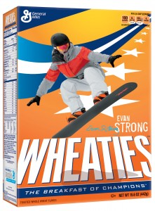Strong joins newest Team Wheaties athletes Mikaela Shiffrin and Sage Kotsenburg on limited-edition boxes. (image: Wheaties™)