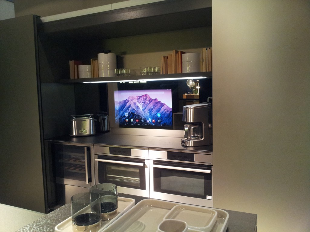 Elam's interactive Kitchen, mirror hide technology, touchscreen, voice commands, technology provided by Cloudproject Generation SRL (Photo: Elam/Business Wire)