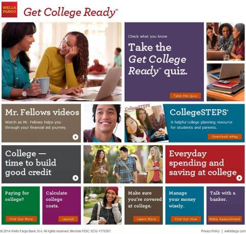 The Get College ReadySM website offers free resources and tools to help guide student's transition into college and the development of responsible money and credit management habits (image: BusinessWire)