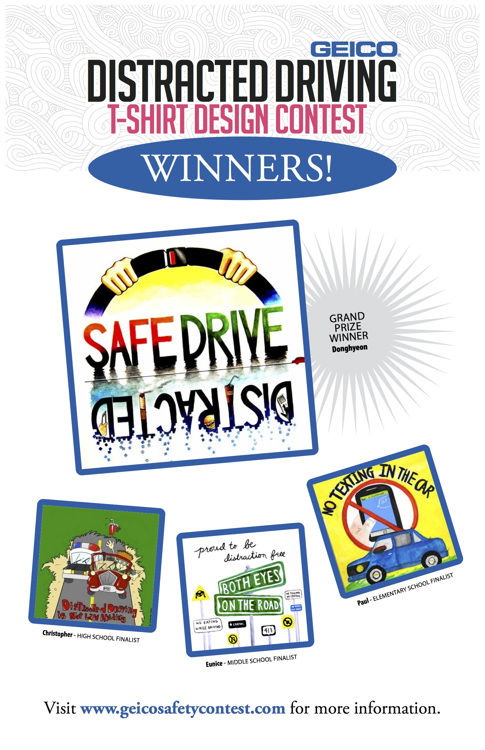 Winners of GEICO's distracted driving t-shirt design contest. (image: Business Wire)