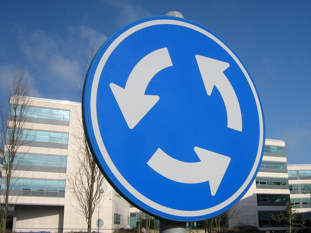 A roundabout, or a circle, is a type of circular intersection or junction in which road traffic flows almost continuously in one direction around a central traffic island and can be seen easily in Europe. (image: DennisM2/flickr)