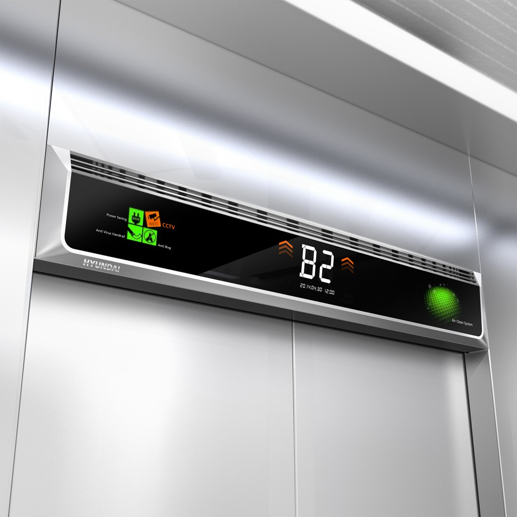 Its LCD-panel smart indicator can show all essential information on the operational status of the elevator including closed-circuit TV state, power-saving mode, current location, and operation time. (source: Hyundai Elevator)