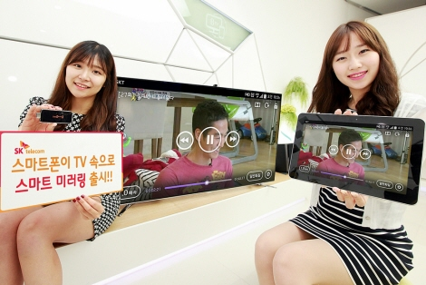 Smart Mirroring can easily be connected to an HDMI slot on high-definition displays including TVs, monitors and projectors to establish a connection to the smart devices via Wi-Fi. (image: SK Telecom)