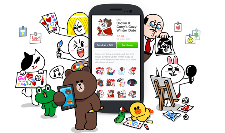 The platform enables Line messenger users to create and sell their self-made stickers used for their messaging. (image: Line)