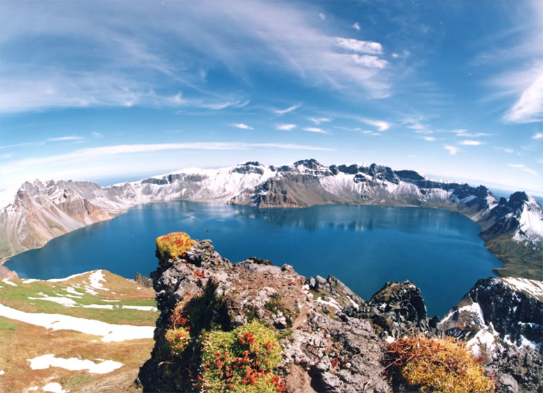 "Theire is a large crater lake, called ""Tianchi"" (meaning ""Heaven Lake,"") is in the caldera atop the mountain. (Wikipedia)"