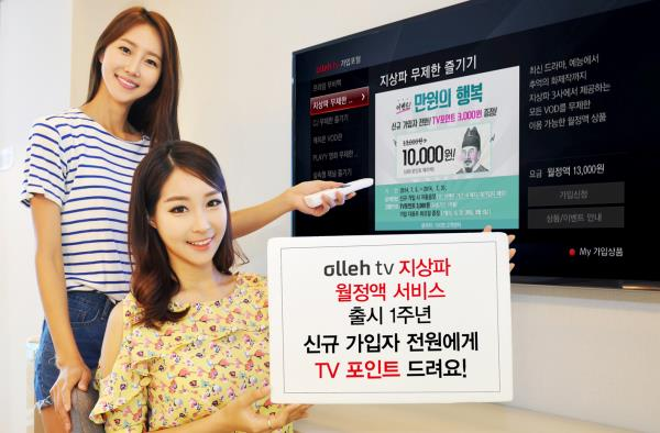 In celebration of the one-year anniversary of the package's launch, Olleh TV is offering a special event in which it gives away 3,000 points to all new subscribers to unlimited program pack. (image:KT Olleh)