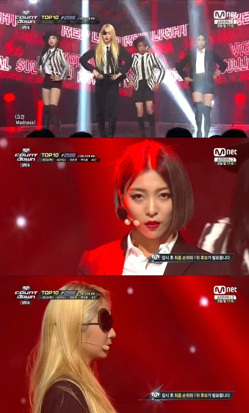 f(x) has the honor of the first title  on Mnet's 'M! Countdown' (image: Mnet)