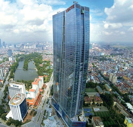 "The state-of-the-art building looks as if it were wearing ""Ao Dai,"" Vietnamese traditional women's dress. (image: Lotte Asset Development)"