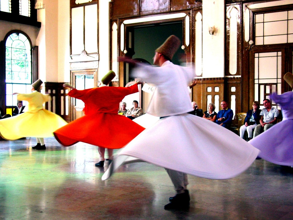 One of the most iconic Turkish culture is Sufi whirling. Sufi whirling (or Sufi spinning) is a form of Sama or physically active meditation which originated among Sufis, and which is still practiced by the Sufi Dervishes of the Mevlevi order. (image: Sema ceremony at Sirkeci Railway Station, Istanbul by Wikipedia)