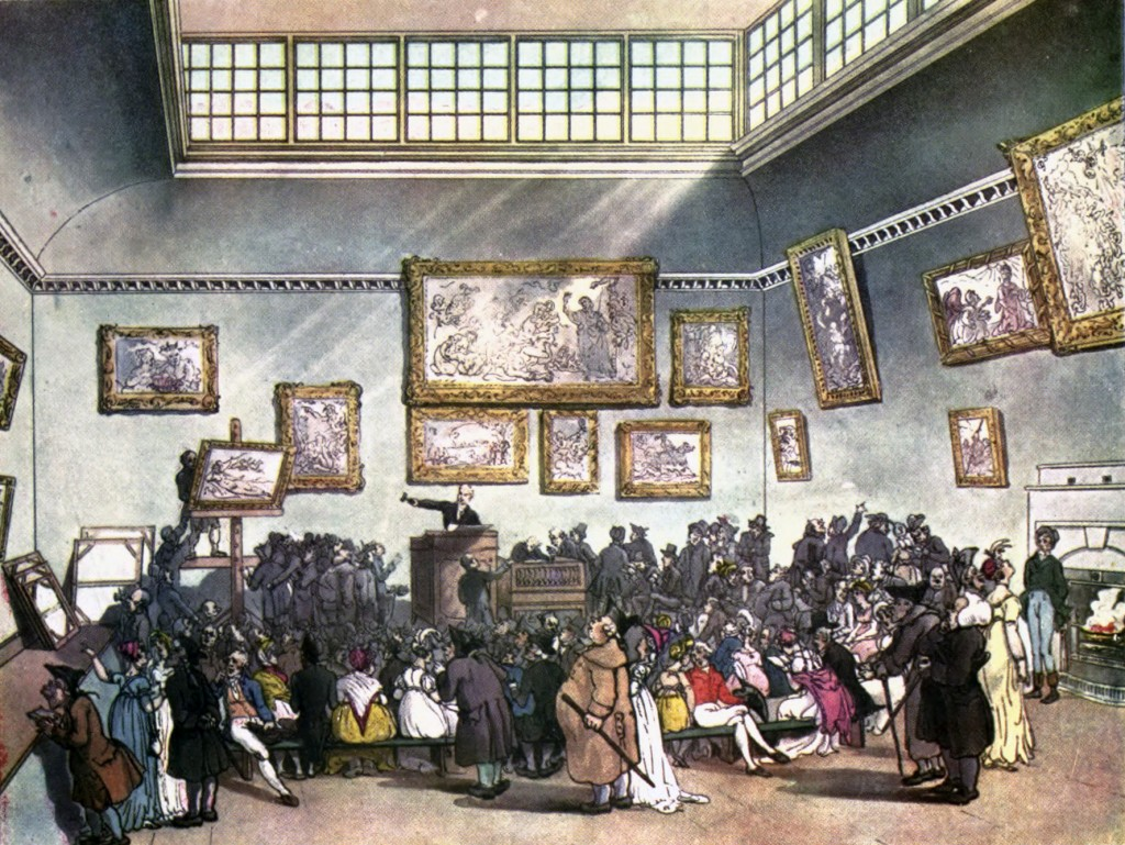 The South Korean government will provide an online service on artwork prices similar to ArtPrice, the French government-run service on prices of artworks, as part of its art market growth plan. (image: Auction Room, Christie's, circa 1808 by Wikipedia)