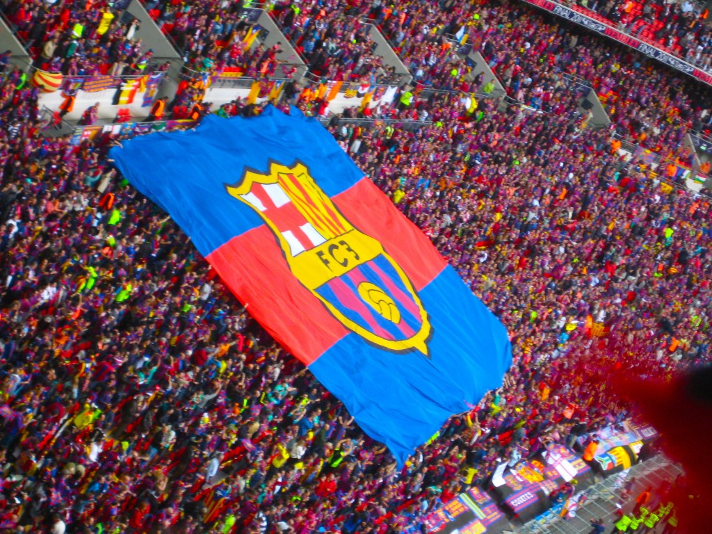 FC Barcelona flag (Wikimedia Commons)