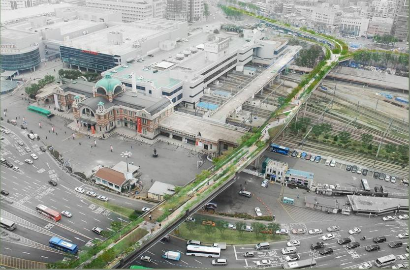 A bird's eye-view of conceptualized image for an elevated road near Seoul Station (image credit: Seoul City Government)