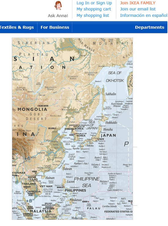 Ikea pays the price for ignoring korean market sentiment be korea whats more ikea is selling a large scale world map with the sea indicated gumiabroncs Image collections