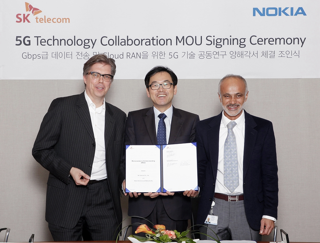 SK Telecom today announced that it signed a Memorandum of Understanding (MOU) with Nokia on January 21, 2015, to work together to lead the development and verification of the fifth-generation (5G) mobile network technologies. (image: SK Telecom)