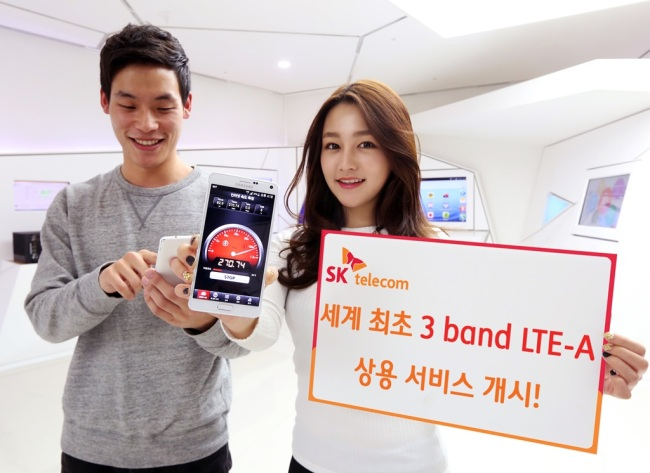 The service is four times faster than LTE and 21 times faster than 3G service. For instance, at its peak speed, tri-band LTE-A service allows users to download a 1GB movie in only 28 seconds. (image: SK Telecom)