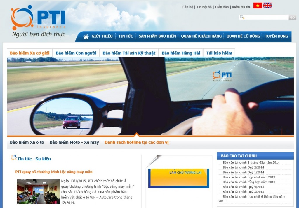 As a subsidiary founded in 1998 by Vietnam Post Corporation, PTI is known to be equipped with a nationwide sales network. (image: PTI homepage)