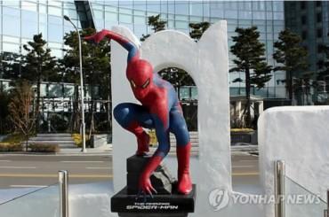 Spider Man Statue in Marine City, Busan