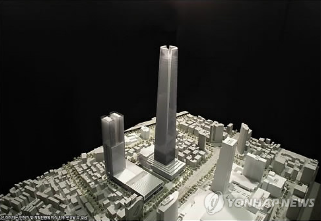 The building planned by the group would be 571 meters tall and have a floor area ratio of 799 percent. It will be made up of offices, a convention center, hotel and shopping area. (image courtesy of Yonhap)