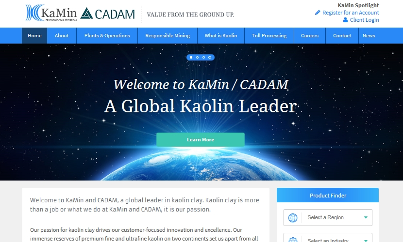The site has been redesigned to provide a comprehensive overview and essential information about KaMin and CADAM kaolin clay products and operations. (image: KaMin)