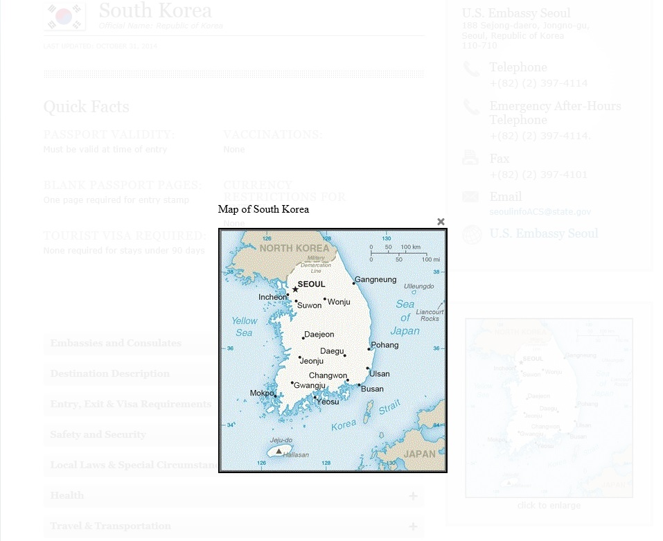 The revised map showed Dokdo marked as the Liancourt Rocks, a neutral name that the U.S. has used to refer to the islets in an effort not to take any side. (image: Screen capture of the US Department of State website)