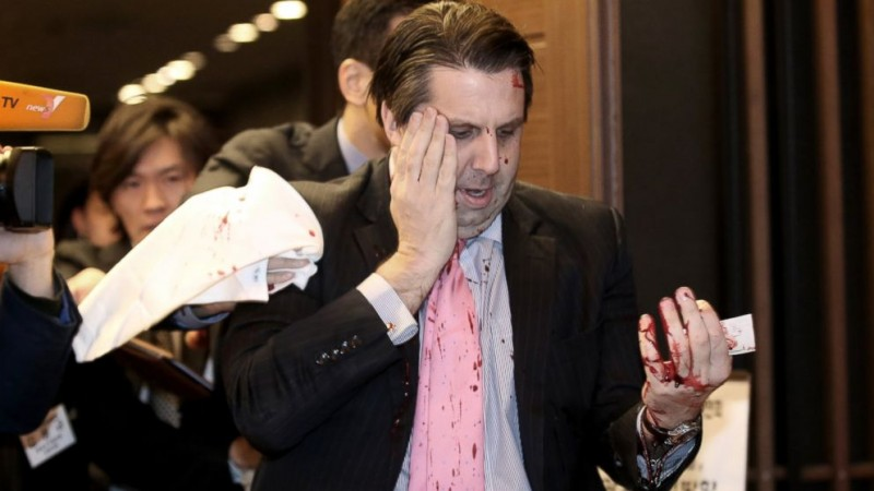 U.S. Envoy to Seoul Injured in Razor Blade Attack