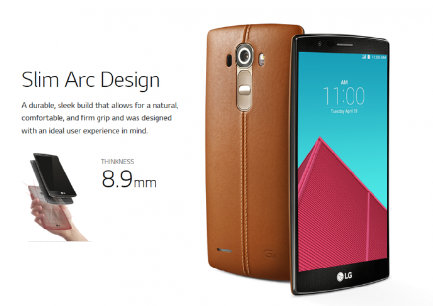 According to the leaked data, the LG G4 smartphone will come with a 5.5-inch in-plane switching (IPS) display as its older sister, the G3. It will be 8.9 mm thick, and sized 75.3 mm wide and 149.1mm tall. (image: LG Electronics' microsite)