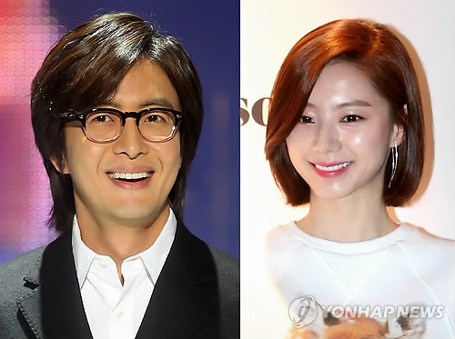 South Korea actor Bae Yong-joon (L) will marry singer-turned-actor Park Soo-jin (R) in the coming fall, his management agency said on May 14, 2015. (image courtesy of Yonhap)