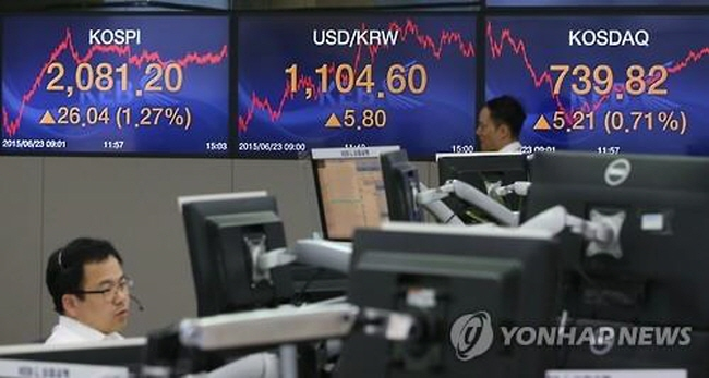 The tech-heavy KOSDAQ market rose 0.7 percent to end at 739.82 on June 23, 2015, hitting the highest since December 2007. (image: Yonhap)