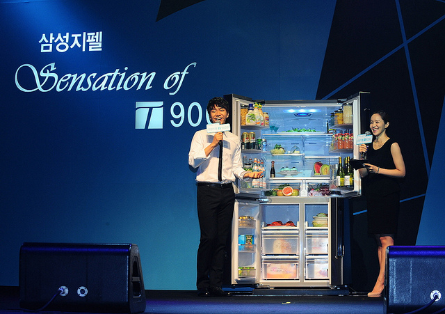 "Samsung's Zipel T9000 refrigerator is one of its flagship models, and is known as the ""Jun Ji-hyun Refrigerator"", as the famous star is a spokesmodel for the product. (image: Samsung Electronics)"