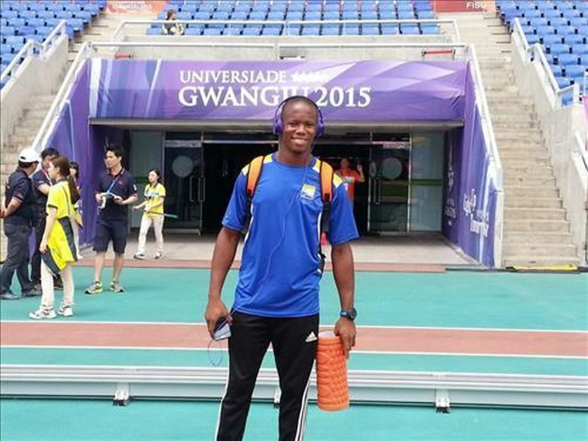 Fallon Forde, a sprinter from Barbados, poses at the Gwangju Universiade Main Stadium before the athletics competitions on July 9, 2015. (Photo courtesy of Fallon Forde)