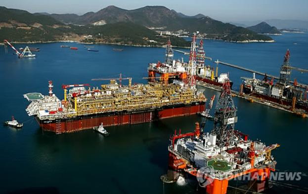A shipyard in DSME in Geoje, South Gyeongsang Province