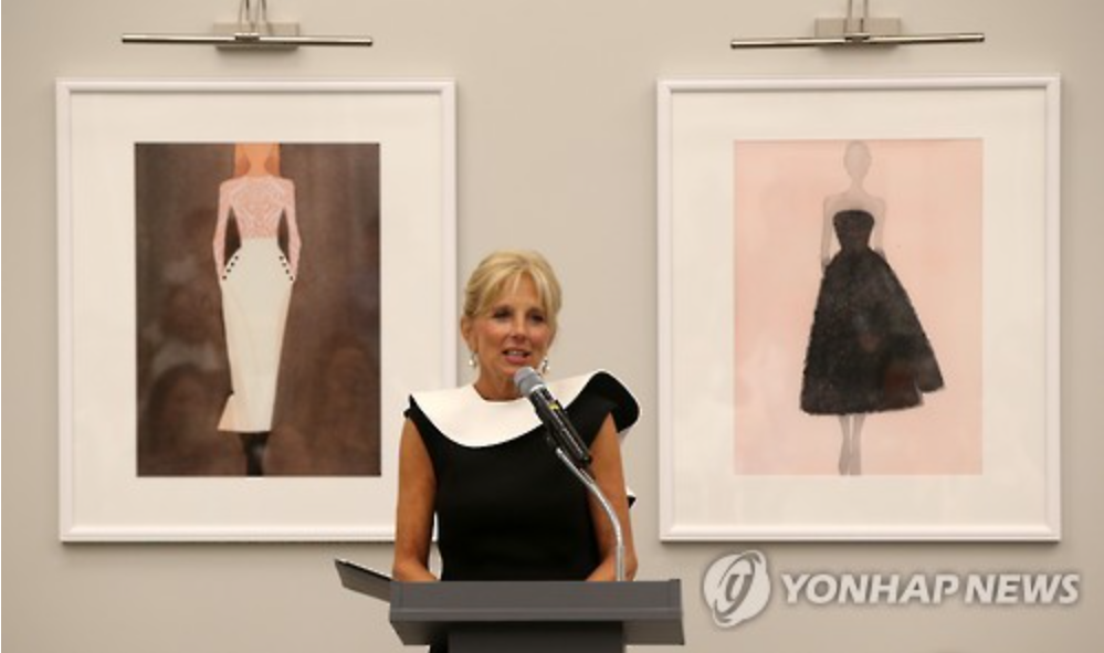 U.S. second lady Jill Biden is making a speech at a reception event under the auspices of the Ministry of Gender Equality and Family (image courtesy of Yonhap)