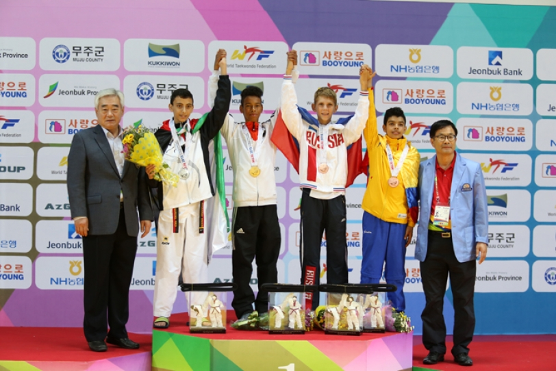 Yasini settled for silver after being defeated by Germany's Ranye Drebes in the gold medal match in the men's under 41 kilogram division of the World Cadet Championships held at the T1 Arena in Muju, Korea. (image: WTF)