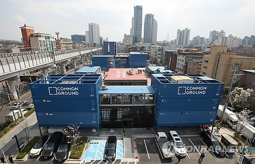 Kolon Common Ground is the world's largest pop-up container shopping mall. (Image : Yonhap)