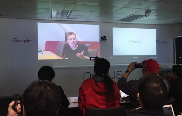 David Burke, Android engineering director at Google, speaks before the local press via video conference at a media launch event for the Nexus 5X and 6P held at the Seoul Google Inc. office on Oct. 13, 2015. (image: Google Korea)