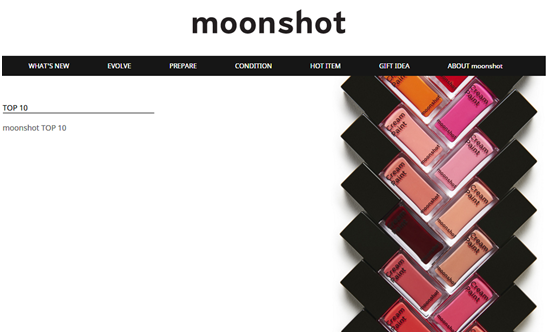 YG Entertainment, representing Psy and Bigbang, also jumped on the cosmetics bandwagon in October 2014. (Image : Moon Shot homepage)