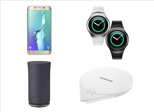 The file image shows, clockwise, the Samsung Galaxy S6 Edge Plus, the Gear S2, SleepSense and Wireless Audio 360, made by Samsung Electronics Co. that received the CES Best of Innovations award for 2016, on Nov. 11, 2015. (Image : Samsung)