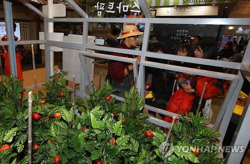 The Ministry of Agriculture, Food and Rural Affairs exhibited its 'Smart Farm', which has sensors that measure temperature and humidity, increasing the efficiency of growing crops. (Image : Yonhap)
