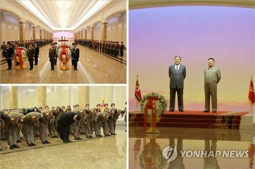 North Korean leader Kim Jong-un pays his respects at the Kumsusan Palace of the Sun to mark the fourth anniversary of the death of his father Kim Jong-il. (Image : Yonhap)