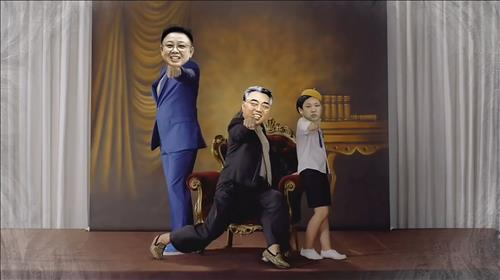A parody video of North Korea's founding father Kim Il-sung, the late leader Kim Jong-il and current leader Kim Jong-un dancing is gaining  popularity on YouTube. (Image : Yonhap)